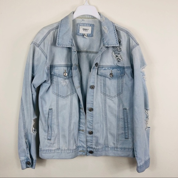 Forever 21 Jackets & Blazers - Forever 21 Light Blue Distress Denim Jacket